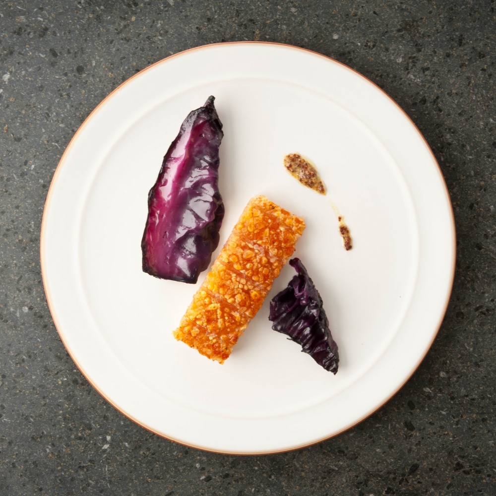 Pork belly, red cabbage and mustard